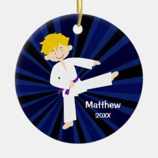 Taekwondo Purple Belt Blonde Boy Personalized Ceramic Ornament