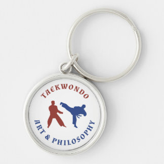 Taekwondo Red and Blue Stamp Keychain