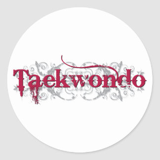 Taekwondo Red Classic Round Sticker