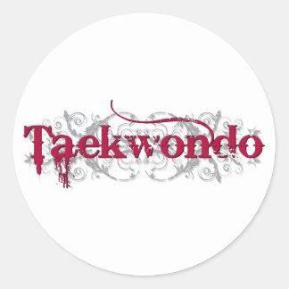 Taekwondo Red Classic Round Sticker