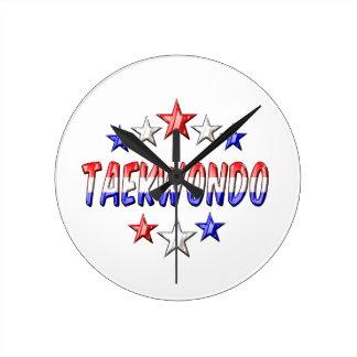 Taekwondo Stars Round Clock
