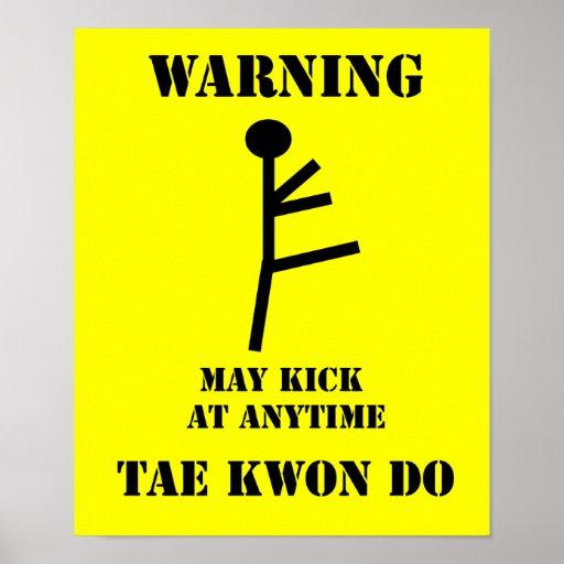 Taekwondo Warning Poster Print
