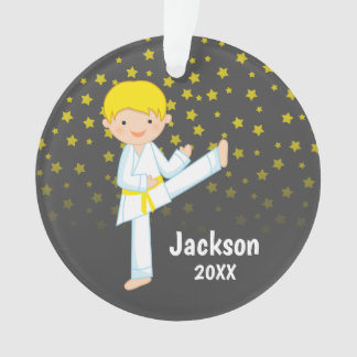 Taekwondo Yellow Belt Blonde Boy Personalized Ornament