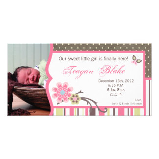 Taffy Spring Flower Flora Photo Birth Announcement Personalized Photo Card