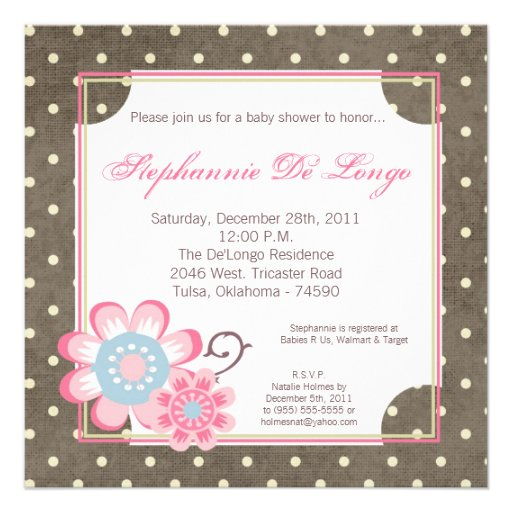 Taffy Spring Flower Floral Baby Shower Invitation