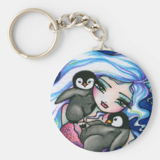 """Tag Alongs"" Mermaid Baby Penguins Fantasy Fairy Basic Round Button Keychain"