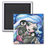 """Tag Alongs"" Mermaid Baby Penguins Fantasy Fairy Refrigerator Magnets"