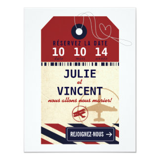 Tag Bagages de Voyage Réserver la Date 4.25x5.5 Paper Invitation Card