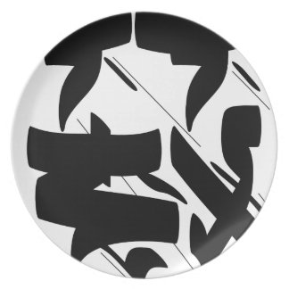 tag calligraphy dinner plate