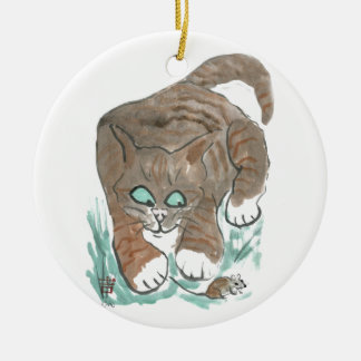 Tag Mouse, You're it... Meows Cat Double-Sided Ceramic Round Christmas Ornament