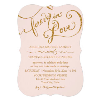 Tag Style Script Forever in Love Gold Glitter Custom Announcements