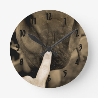 tag your it finger on muzzle horse sepia round clock