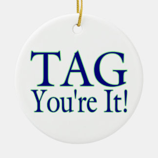 Tag You're It Double-Sided Ceramic Round Christmas Ornament
