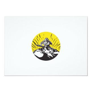 Tagaloa Releasing Bird Plover Earth Woodcut Circle Card