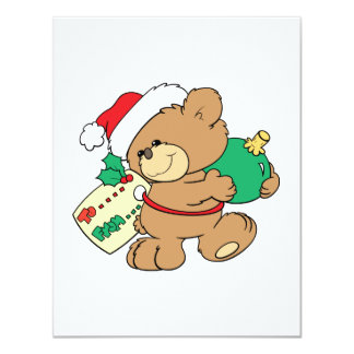 tagged for christmas teddy bear personalized invite