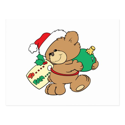 tagged for christmas teddy bear post cards