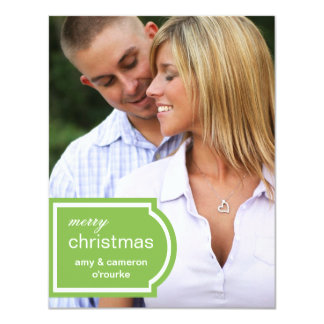 "Tagged Photo Christmas Card-lime 4.25"" X 5.5"" Invitation Card"