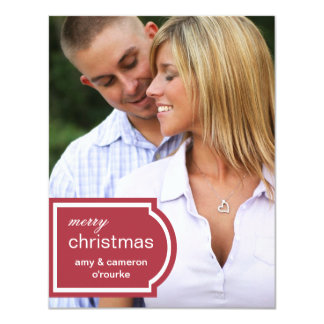 "Tagged Photo Christmas Card-red 4.25"" X 5.5"" Invitation Card"