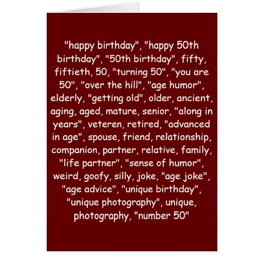 50 Birthday Wishes For Husband: TAGGING YOUR 50TH BIRTHDAY! CARD