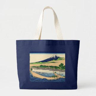 Tago Bay near Ejiri Tokaido by Katsushika Hokusai Canvas Bags