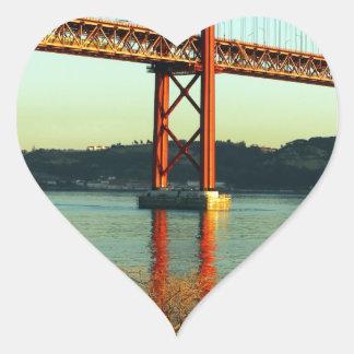 Tagus bridge, Lisbon, Portugal Heart Sticker