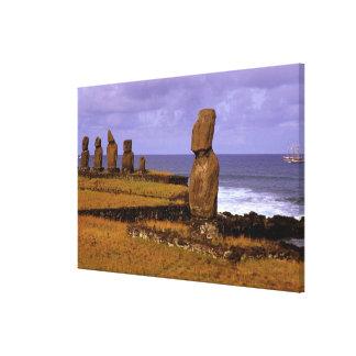 Tahai Platform Moai Statue Abstracts Easter Canvas Print