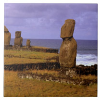 Tahai Platform Moai Statue Abstracts Easter Ceramic Tile