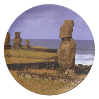 Tahai Platform Moai Statue Abstracts Easter Dinner Plate