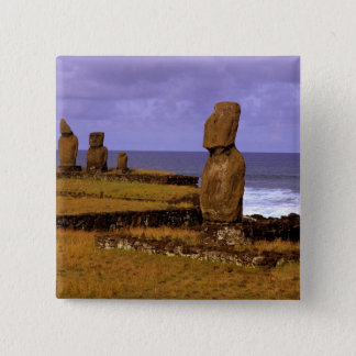 Tahai Platform Moai Statue Abstracts Easter Pinback Button