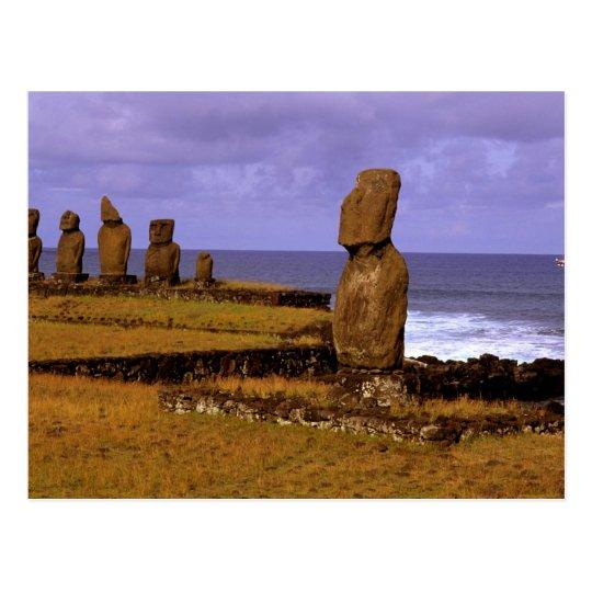 Tahai Platform Moai Statue Abstracts Easter Postcard