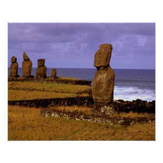 Tahai Platform Moai Statue Abstracts Easter Poster