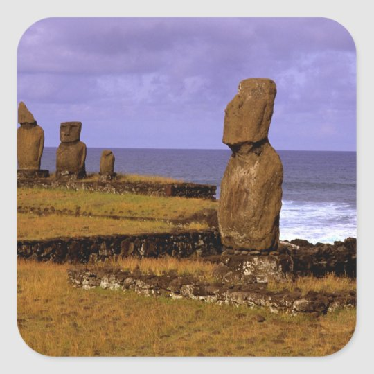 Tahai Platform Moai Statue Abstracts Easter Square Sticker