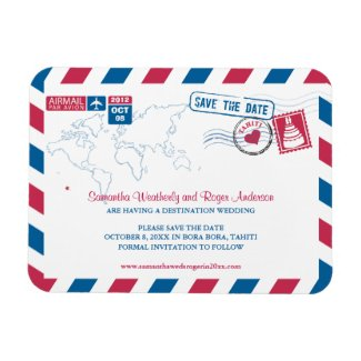 TAHITI Air Mail Wedding Save the Date 3x4 Rectangle Magnet