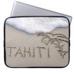 Tahiti beach sign laptop sleeves
