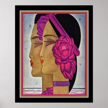 "Beach Themed ""Tahiti Starlight"" Art Deco Print ca 1928 16x20"