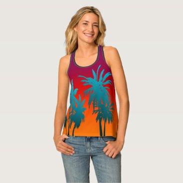 Beach Themed Tahiti Sunset Retro Blue Palm Trees Purple Orange Tank Top