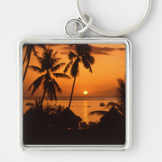 tahiti sunset Silver-Colored square keychain
