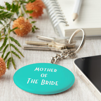 Tahiti Turquoise-Aquamarine - Mother of the bride Basic Round Button Keychain