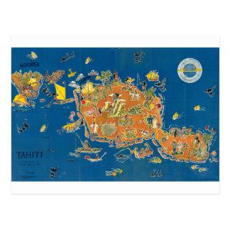 Tahiti Vintage Map Postcard