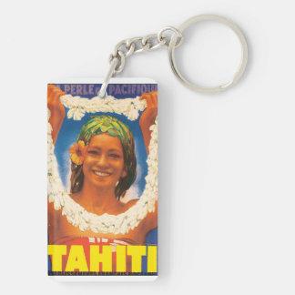 Tahiti Vintage Travel Poster Double-Sided Rectangular Acrylic Keychain