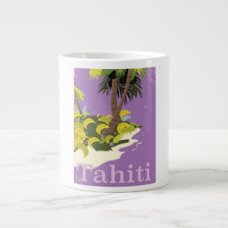 Tahiti vintage travel poster giant coffee mug