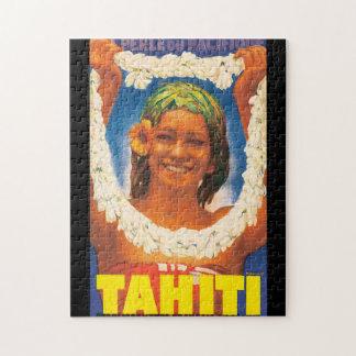 Tahiti Vintage Travel Poster Jigsaw Puzzles