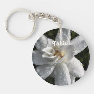 Tahitian Gardenia Single-Sided Round Acrylic Keychain