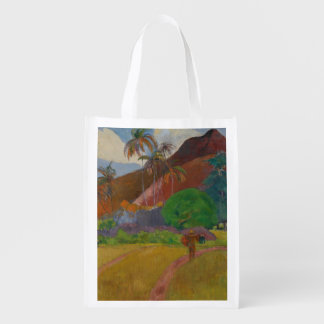 Tahitian Landscape, 1891 (oil on canvas) Reusable Grocery Bag