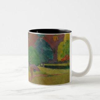 Tahitian Landscape, 1891 (oil on canvas) Two-Tone Coffee Mug