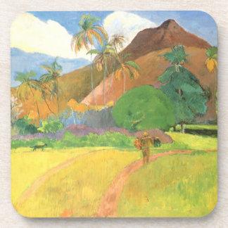 Tahitian Landscape, Mountains Tahiti, Paul Gauguin Beverage Coaster