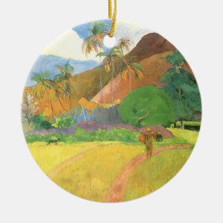 Tahitian Landscape, Mountains Tahiti, Paul Gauguin Ceramic Ornament