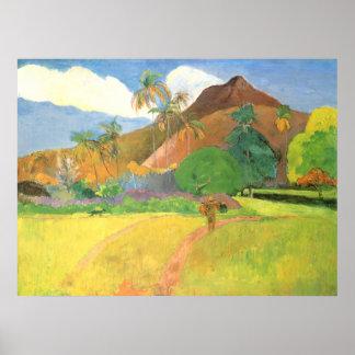 Tahitian Landscape, Mountains Tahiti, Paul Gauguin Poster