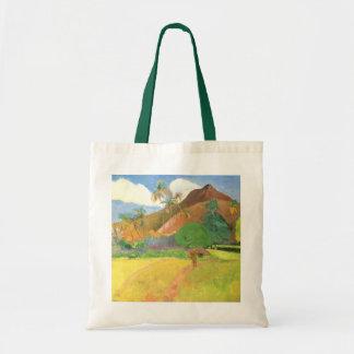 Tahitian Landscape, Mountains Tahiti, Paul Gauguin Tote Bag