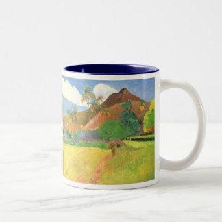Tahitian Landscape, Mountains Tahiti, Paul Gauguin Two-Tone Coffee Mug